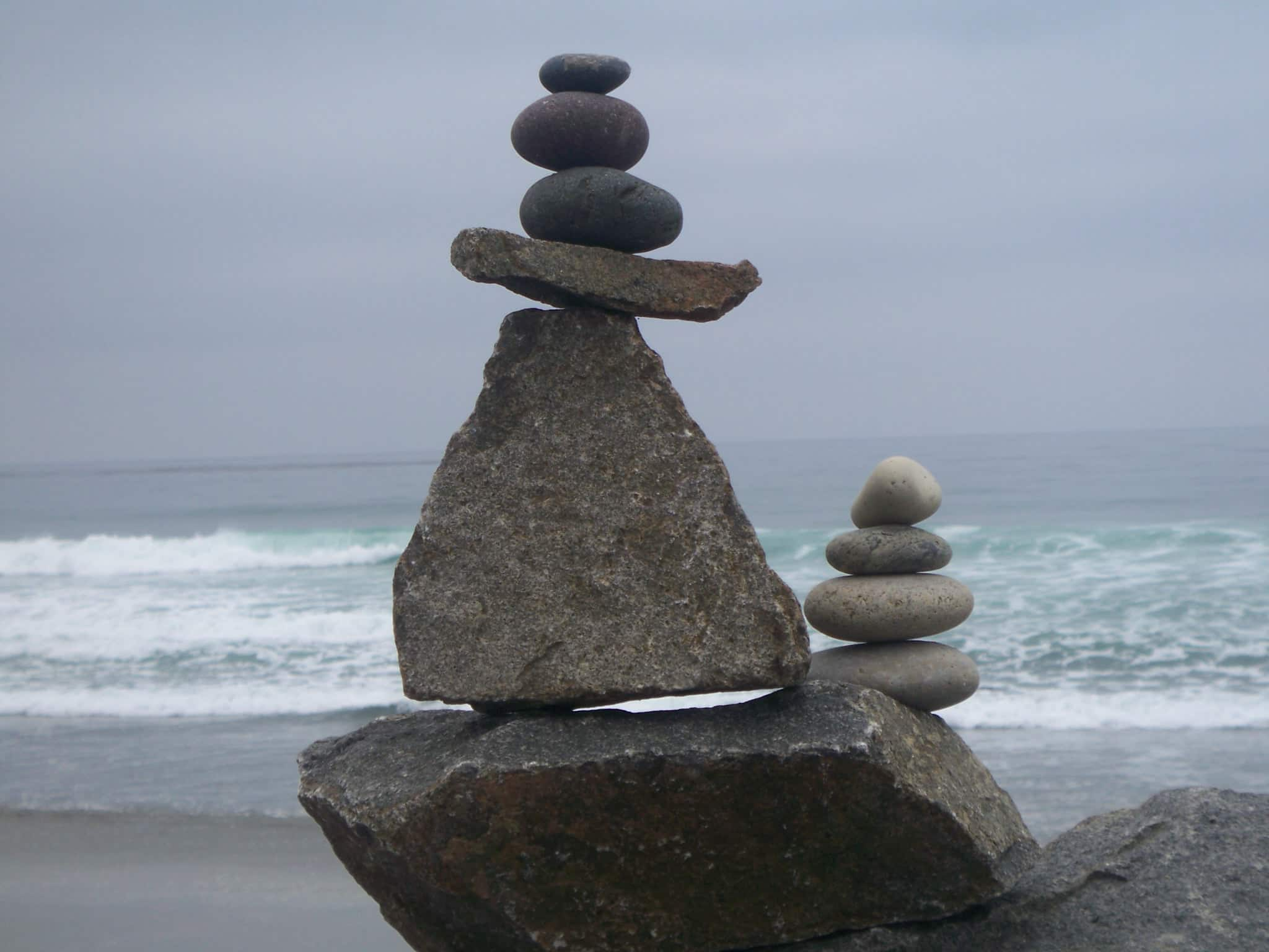 Create stone sculpture on cardiff state beach at home in