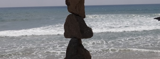 Stone sculpture in Carlsbad at the beach