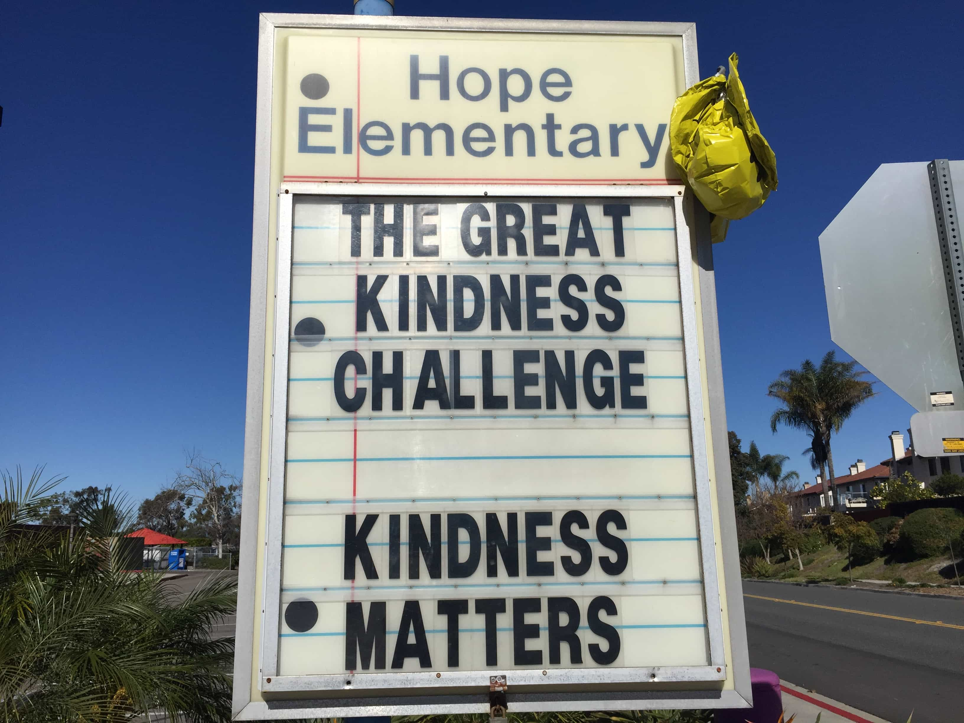 The Great Kindness Challenge 2018 sign in Carlsbad